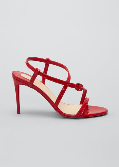 Selima Mock-Croc Stiletto Red Sole Sandals