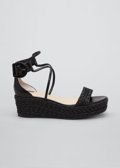 Bodrum Woven Leather Ankle-Tie Espadrille Sandals