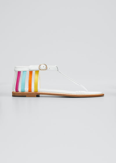 Cisso T-Strap Multicolored Flat Sandals