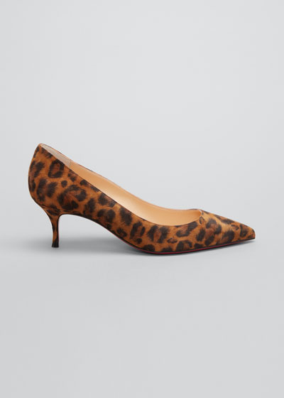 Kate 55mm Leopard-Print Red Sole Pumps