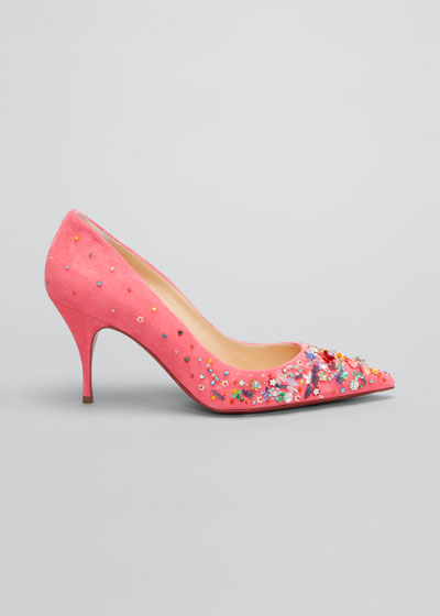 80mm Daisy Beaded Red Sole Pumps