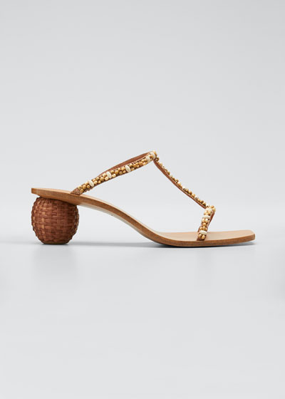 Clio Beaded Sphere-Heel Sandals