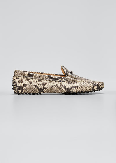 Gommini Python-Print Leather Loafer
