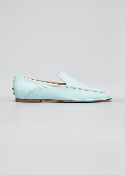 Square-Toe Leather Mocassino Loafers