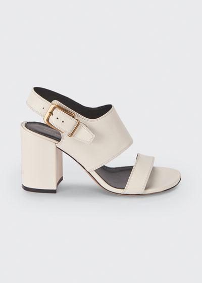 80mm Leather Block-Heel Sandals