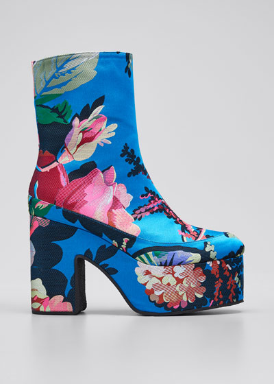 65mm Platform Flower-Print Fabric Booties