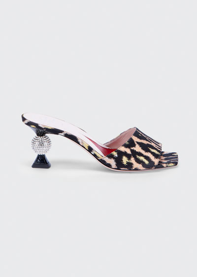 Leopard Mule Sandals with 65mm Crystal Heel