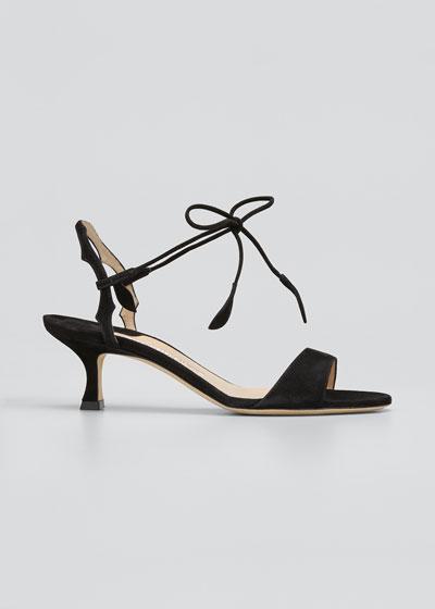 Zouliplain Suede Ankle-Wrap Sandals