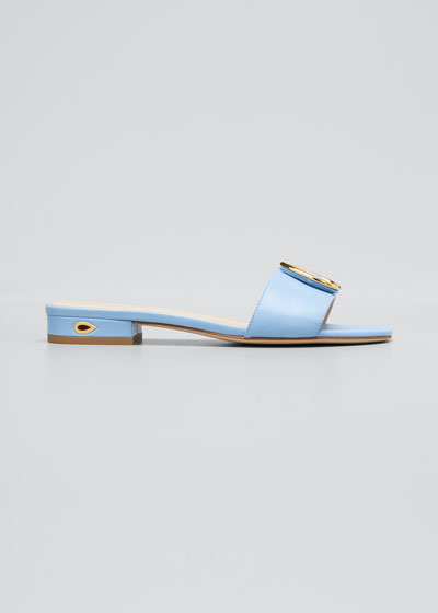 Andrea Flat Leather Slide Sandals with Teardrop Buckle