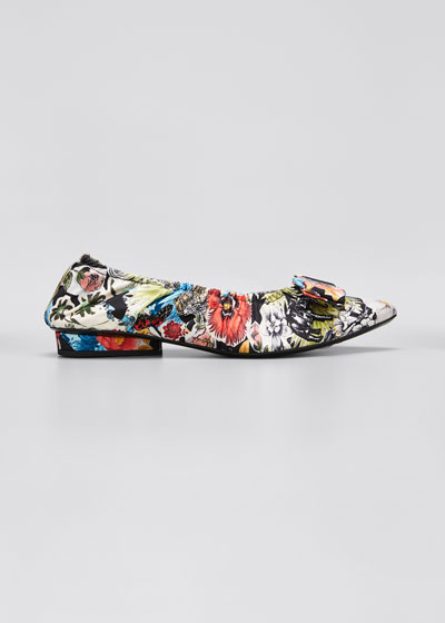 Viva Ruched Floral Bow Ballet Flats