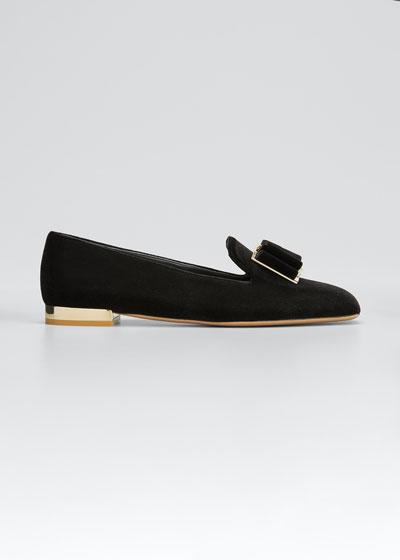 Zaneta Bow Velvet Loafers