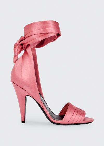 105mm Satin Ankle-Wrap Sandals