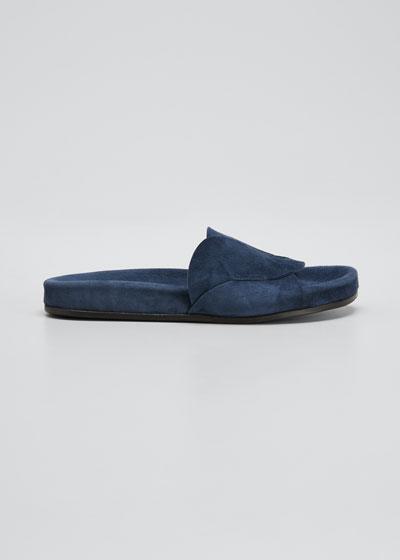 Ivey Suede Slide Sandals, Indigo