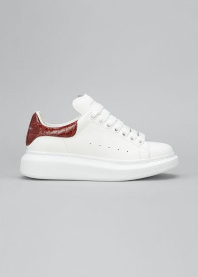 Leather Chunky-Heel Basket Sneakers