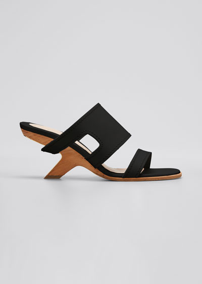 Leather Slide Sandals with Wooden Heel