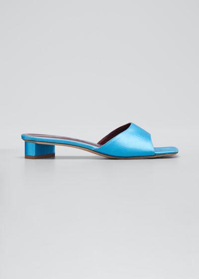 25mm Asymmetric-Heel Satin Slide Sandals