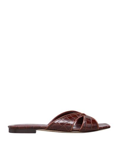 Flat Mock-Croc Slide Sandals