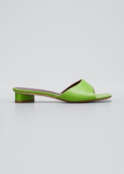 25mm Asymmetric-Heel Leather Slide Sandals