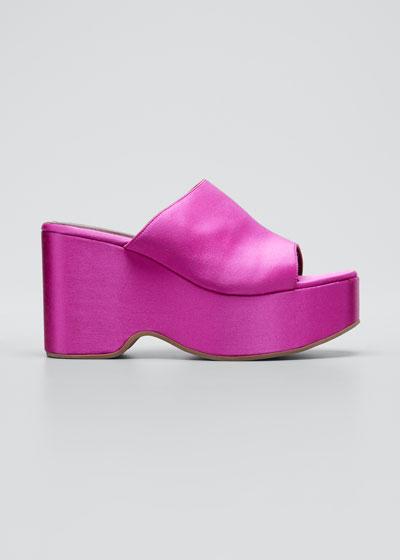 95mm Satin Flatform Slide Sandals