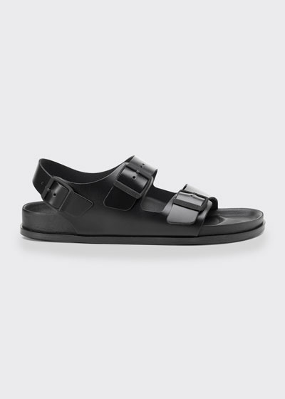 Milano Double Buckle Leather Sandals