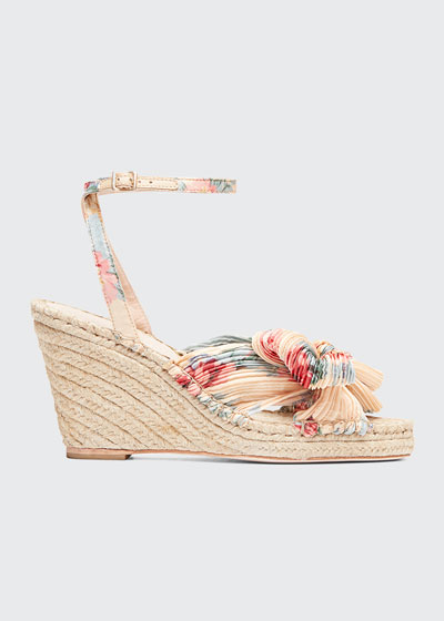 Charley Pleated Bow Wedge Sandals