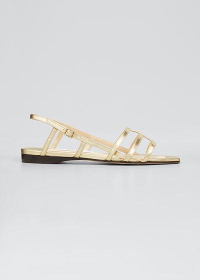 Arien Metallic Leather Cage Slingback Sandals