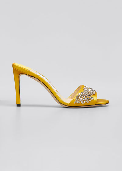 Stacey 85mm Satin & Crystal Slide Sandals