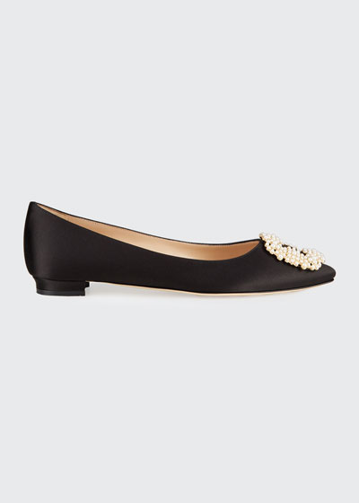 Hangisi Satin Pearly Buckle Ballet Flats