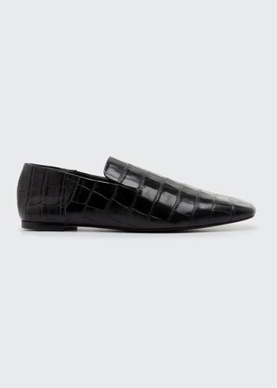 Eugenie Mock-Croc Flat Loafers