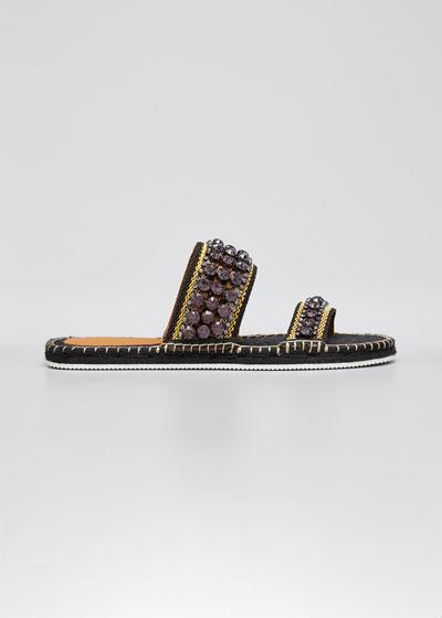 Embellished Two-Band Espadrille Slide Sandals