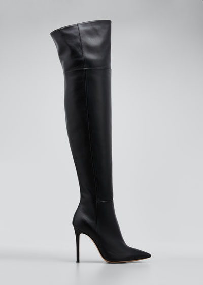 105mm Napa Point-Toe Over-the-Knee Boot