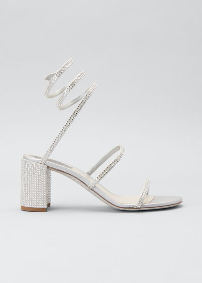 Cleo 85mm Snake-Wrap Block-Heel Sandals