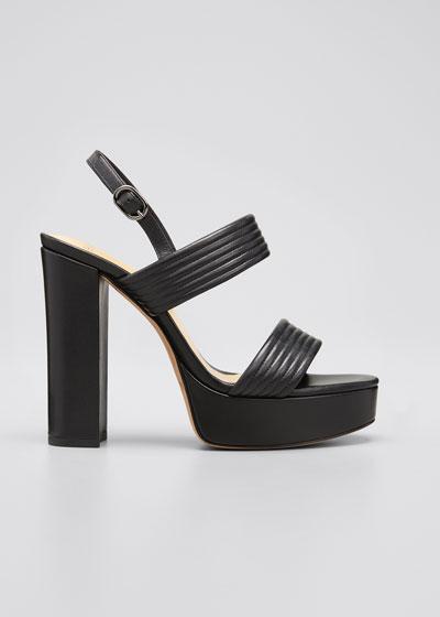 120mm Veronica Quilted Platform Sandals