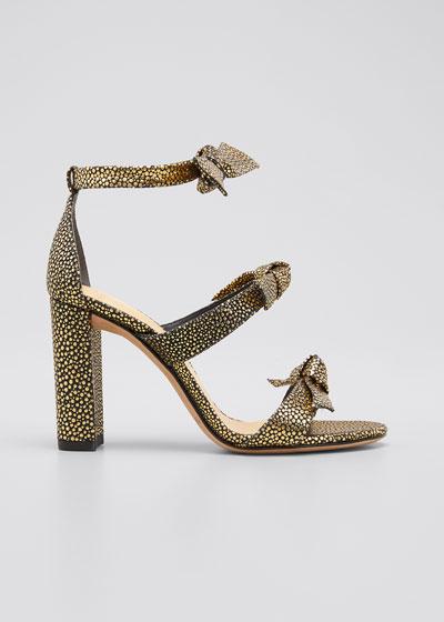 Lolita Metallic Shagreen-Print Knot Ankle-Wrap Sandals