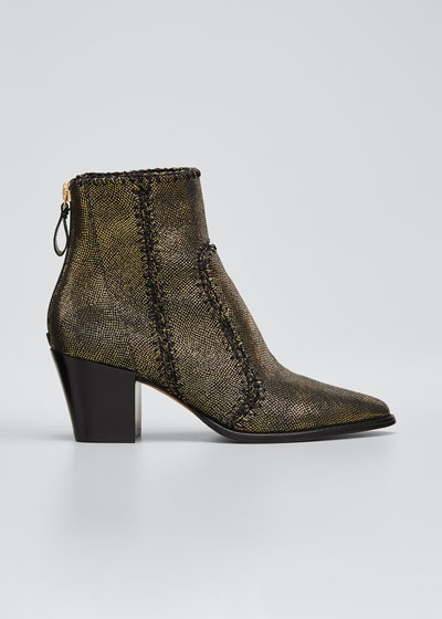 Benta Metallic Ankle Zip Booties