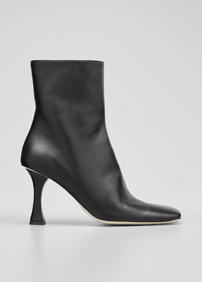 Sofia 90mm Leather Zip Ankle Booties