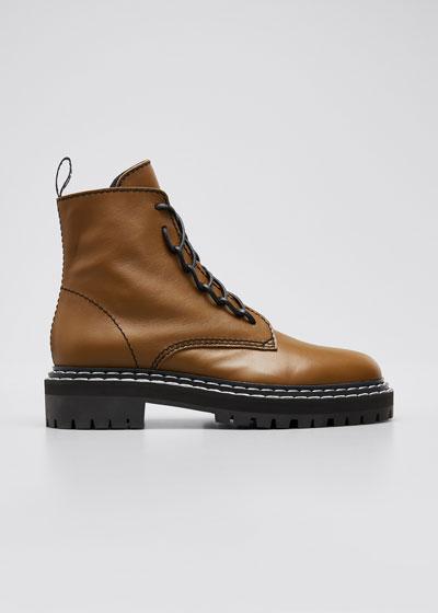 Leather Lug-Sole Zip Combat Boots