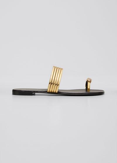 Flat Coated Metallic Leather Toe-Ring Sandals