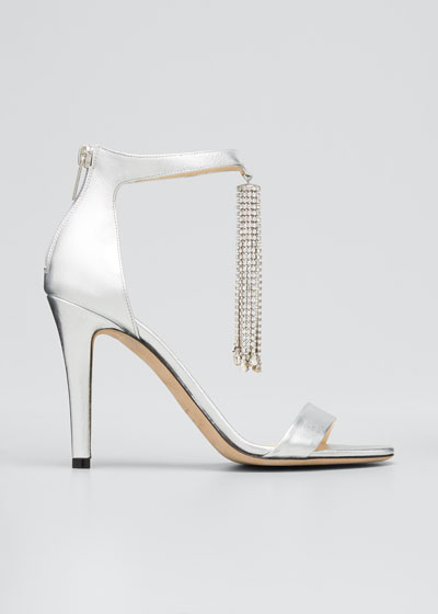 Viola Metallic Crystal Tassel Cocktail Sandals