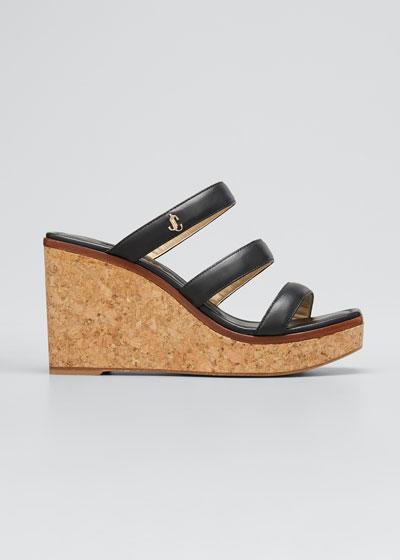 Athenia Three-Band Cork Wedge Sandals