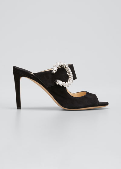 85mm Suede Mary Jane Slide Heel Sandals