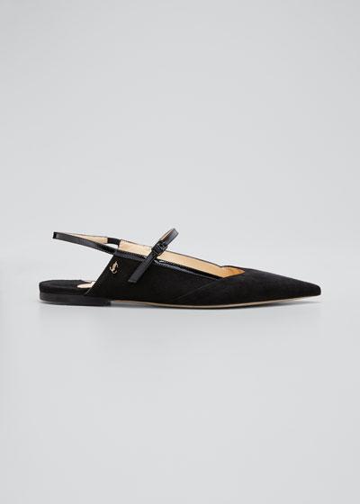 Suede Slingback Ballerina Flats