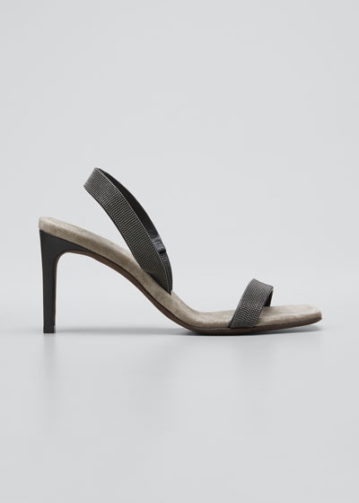 Suede Slingback Sandals With Monili Straps