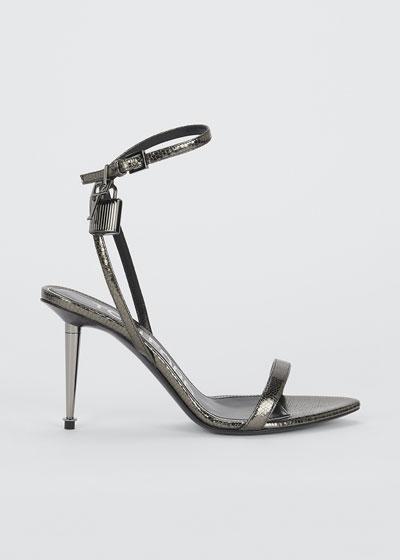 85mm Lock Lizard-Print Leather Sandals