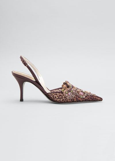 Veneziana Embroidered Lace Mid-Heel Pumps