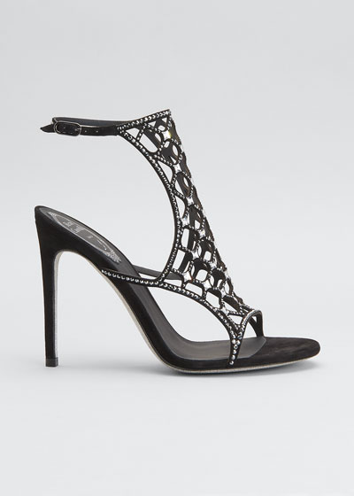 105mm Crystal Laser-Cut Cage  Sandals