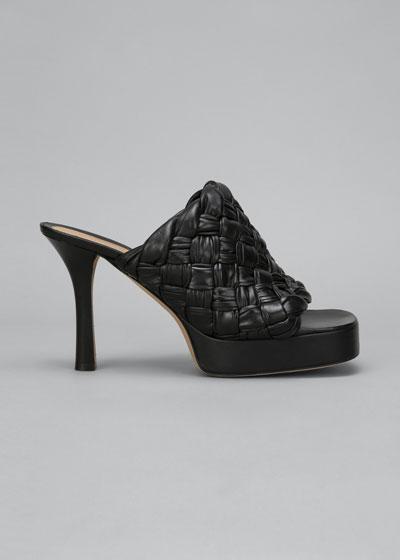 105mm Woven Shiny Leather Platform Sandals