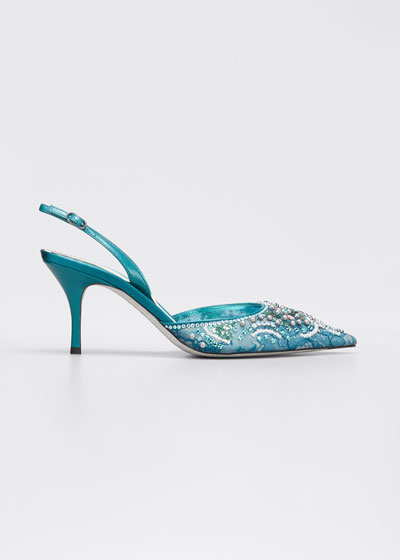 75mm Embellished Lace Cocktail Slingback Pumps