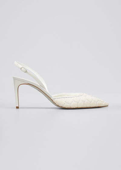 Beaded Hive Cocktail Slingback Pumps, White