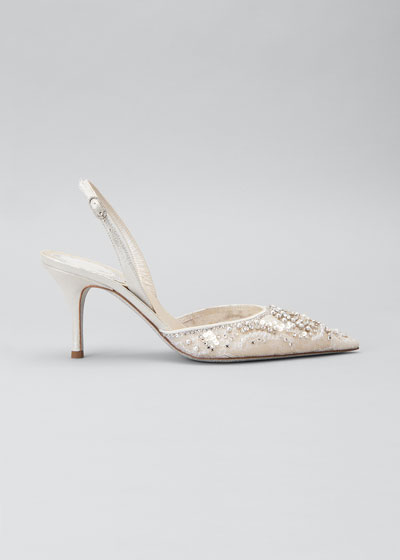 Crystal Lace Slingback Pumps